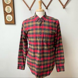 J Crew Suede Elbow Patch Flannel Wool Button Shirt